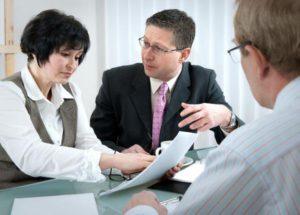 Attorneys in a divorce meeting