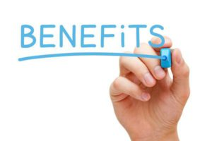 Benefits written with blue marker pen