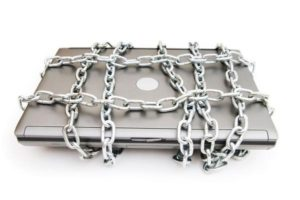 Laptop wrapped in chains
