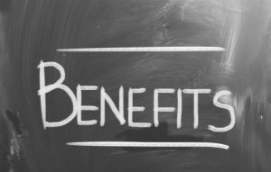 Benefits written in chalk on blackboard