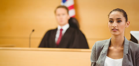 woman in courtroom